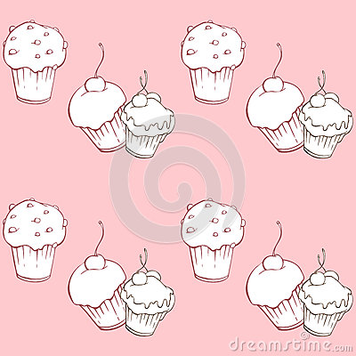 Seamless pattern with sweet cakes on pink background Vector Illustration