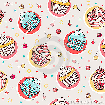 Seamless pattern with sweet cupcakes