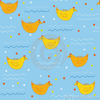 Seamless pattern with swimming ducks