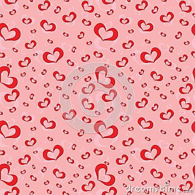Seamless pattern of symbolic hearts