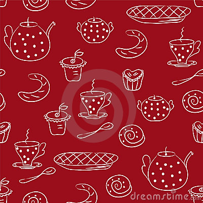 Seamless pattern with tea or coffee set