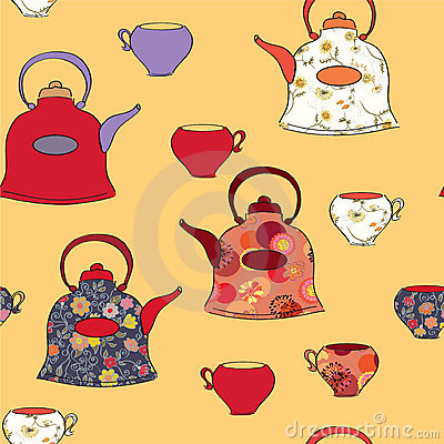 Seamless pattern with tea pots and cup
