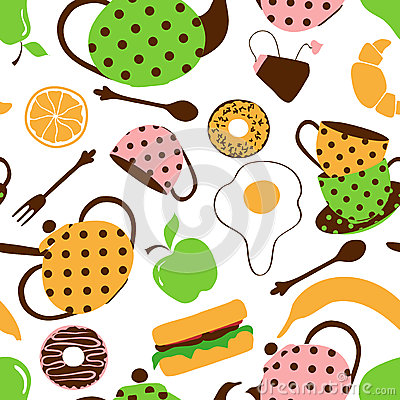 Seamless pattern of tea set and breakfast food