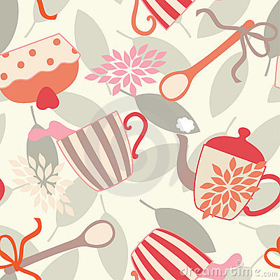 Seamless Pattern with Tea Utensils