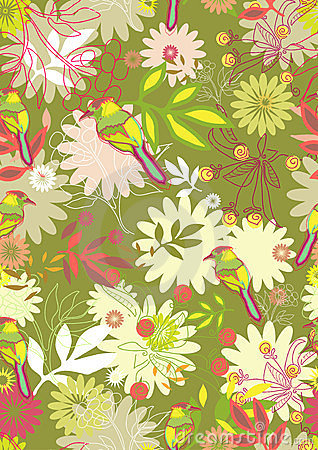 Seamless pattern with tender flowers and birds