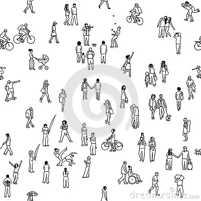 Seamless pattern of tiny people Vector Illustration