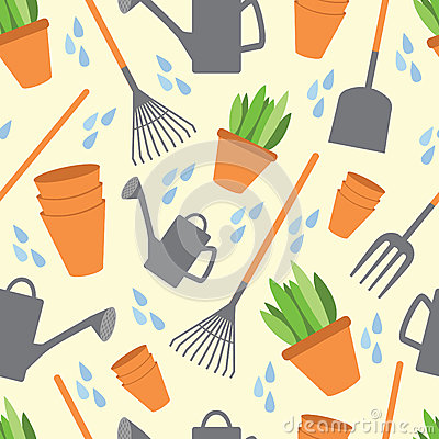 Free Seamless Pattern Tools For Working In The Garden Royalty Free Stock Photos - 45047838