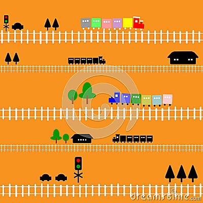 Seamless pattern train railway for kids