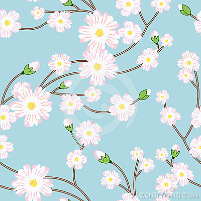 Seamless pattern with tree blossoming brunch
