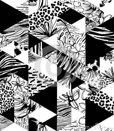 Free Seamless Pattern Tropical Birds, Palms, Flowers, Triangles. Grunge Ink Style. Stock Images - 91449024