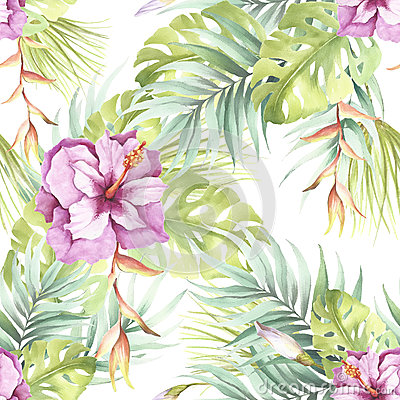Seamless pattern with tropical flowers. Watercolor illustration. Cartoon Illustration