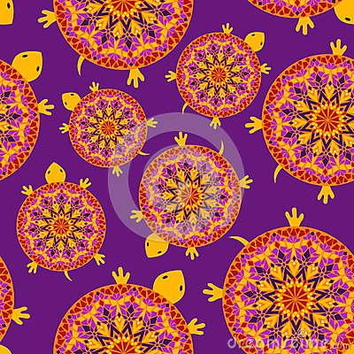 Seamless pattern of turtles