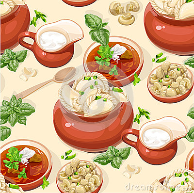 Seamless pattern of Ukrainian traditional food