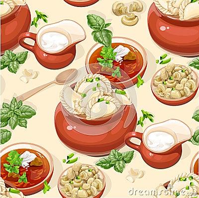 Seamless pattern of Ukrainian traditional food