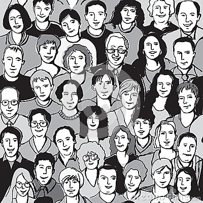 Free Seamless Pattern Unrecognizable People Faces In Crowd Royalty Free Stock Photos - 44754888