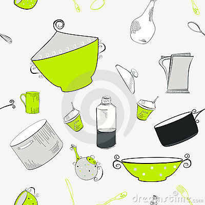 Seamless pattern with utensils