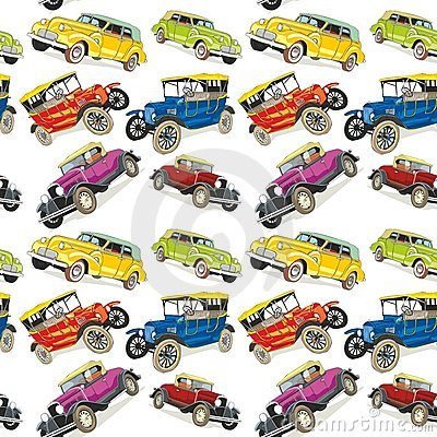 Seamless pattern vintage cars