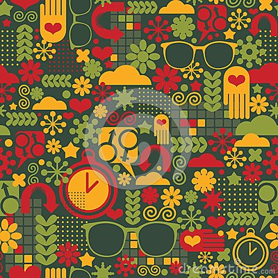 Seamless pattern with watch.