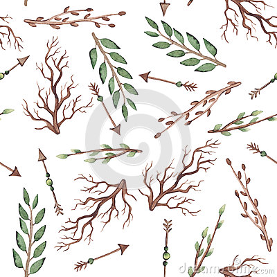 Seamless Pattern of Watercolor Arrows, Green Leaves And Branches Stock Photo