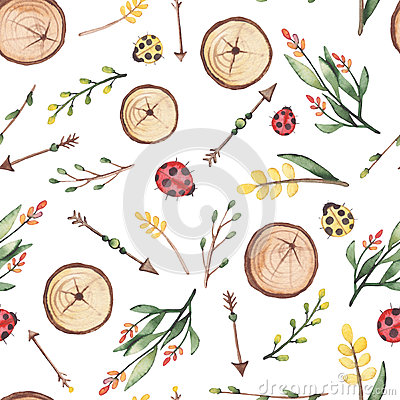 Seamless Pattern of Watercolor Arrows And Ladybug Stock Photo