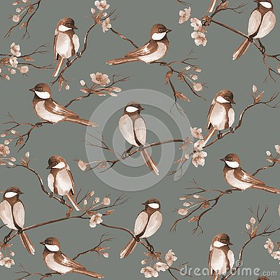Seamless pattern with watercolor birds sitting on a branches with flowers Cartoon Illustration