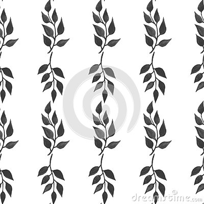 Seamless pattern with watercolor branches Illustration of twig leaves Floral handmade texture leaves Digital paper Textiles Wallpa Stock Photo