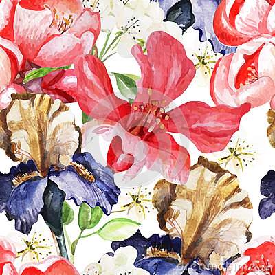 Seamless pattern with watercolor flowers. Iris Vector Illustration