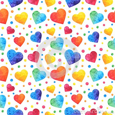 Seamless pattern with watercolor hearts, valentines day background, texture, wrapping. Vector eps10 Vector Illustration