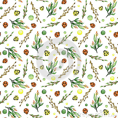 Seamless Pattern of Watercolor Herbs, Spots And Woods Stock Photo