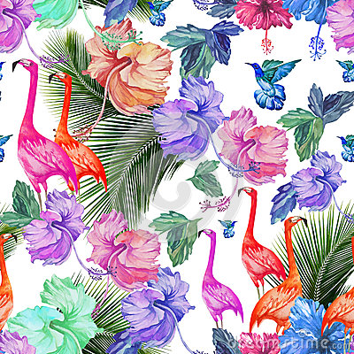 Seamless pattern watercolor tropical flowers, palm tree and birds. Vector Illustration
