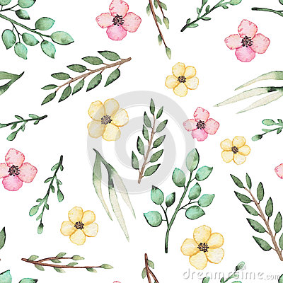 Seamless Pattern of Watercolor Wild Flowers and Leaves Stock Photo