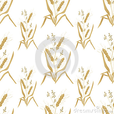 Seamless pattern with wheat ears for wallpaper design