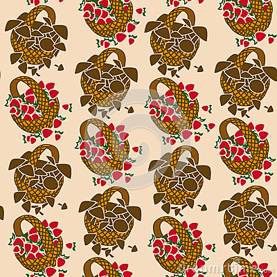 Seamless pattern of wicker backets