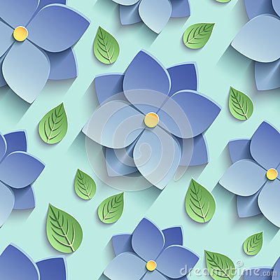 Free Seamless Pattern With 3d Blue Flowers And Leaves Stock Photo - 57458530