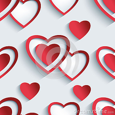 Free Seamless Pattern With 3d Hearts For Day Valentine Royalty Free Stock Photo - 49150355