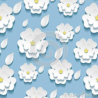 Free Seamless Pattern With 3d White Sakura Royalty Free Stock Photos - 43000218