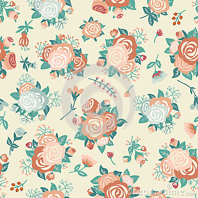 Free Seamless Pattern With A Bouquet Of Roses Royalty Free Stock Image - 66988826
