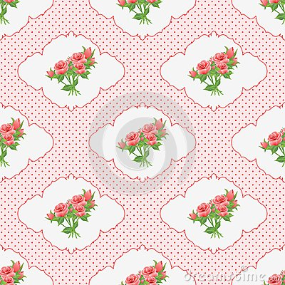 Free Seamless Pattern With A Bouquet Of Roses In The Vignette And Polka Dots. Stock Images - 50595984
