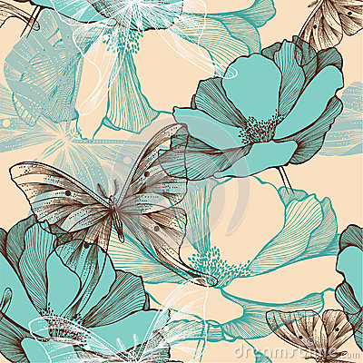 Free Seamless Pattern With Abstract Flowers And Decorat Royalty Free Stock Images - 35561599