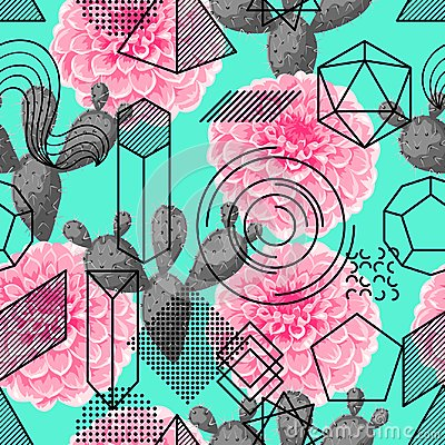 Free Seamless Pattern With Abstract Geometric Shapes, Flower And Cactus. Line Art Background Stock Photos - 111374833