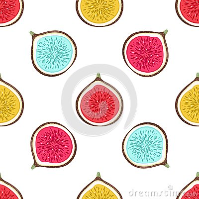 Free Seamless Pattern With Abstract Varicoloured Halves Figs. Healthy Dessert. Fruity Repeating Background. Hand Drawn Fruits Stock Image - 118659451