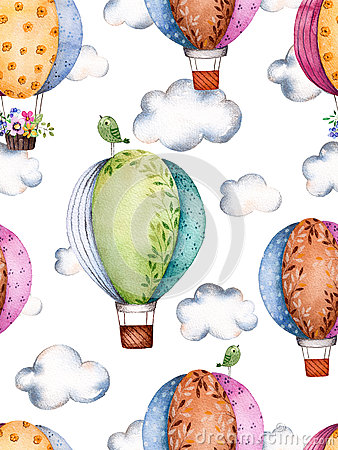 Free Seamless Pattern With Air Balloons And Clouds In Pastel Colours. Royalty Free Stock Image - 68225776