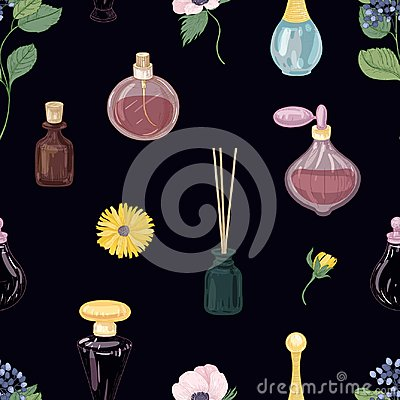 Free Seamless Pattern With Aromatic Perfumes In Glass Decorative Bottles Or Flasks, Elegant Blooming Flowers On Black Royalty Free Stock Images - 115205929