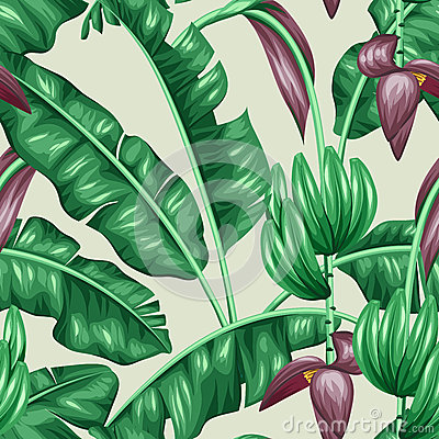 Free Seamless Pattern With Banana Leaves. Decorative Image Of Tropical Foliage, Flowers And Fruits. Background Made Without Royalty Free Stock Images - 69649139