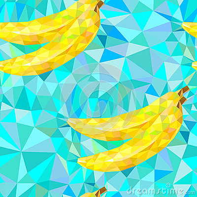 Free Seamless Pattern With Bananas Triangles Royalty Free Stock Image - 58025106