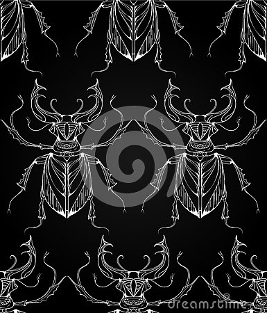 Free Seamless Pattern With Beetles Deer With Tribal Patterns. Stock Photo - 70133590