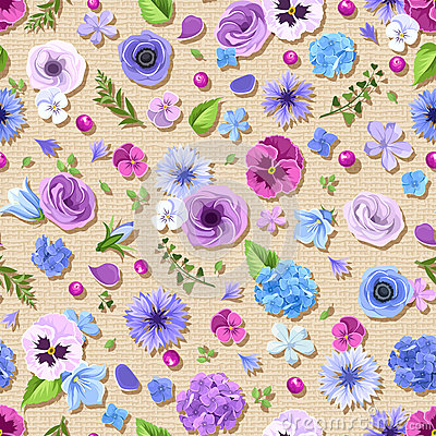 Free Seamless Pattern With Blue And Purple Flowers. Vector Illustration. Royalty Free Stock Photography - 75391087