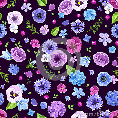 Free Seamless Pattern With Blue And Purple Flowers. Vector Illustration. Stock Photography - 93707222