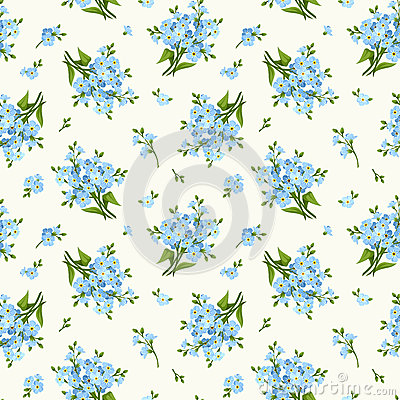 Free Seamless Pattern With Blue Forget-me-not Flowers. Vector Illustration. Royalty Free Stock Photography - 54777677