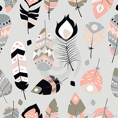 Free Seamless Pattern With Boho Vintage Tribal Ethnic Colorful Vibrant Feathers Stock Images - 77506434